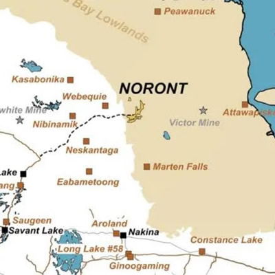 Map of Ontario showing location of Noront projects, and logo of Aroland First Nation.