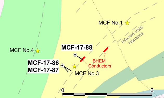 Location of 2017 McFaulds drill holes and BHEM conductors.