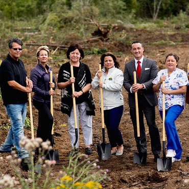 Member of the Fort William First Nation housing project breaking ground.