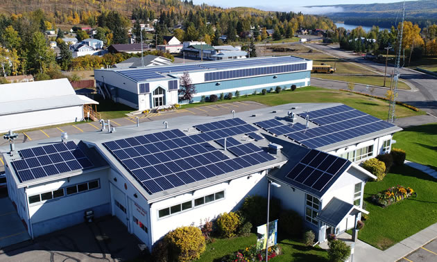 Aerial view of the solar arrays on the curling rink and municipal offices in Hudson's Hope, B.C.