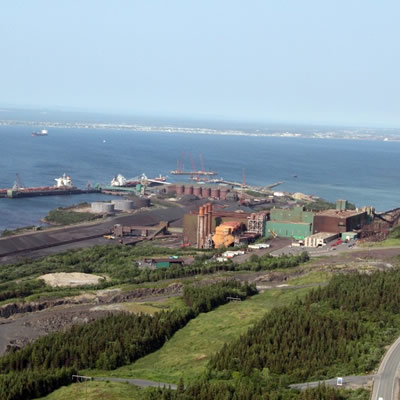 Aerial view of the iron ore pellet plant at Pointe-Noire, QC.