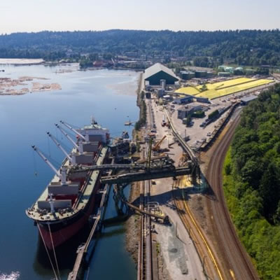 K+S Potash Canada's handling and storage facility at Pacific Coast Terminals in Port Moody, B.C.