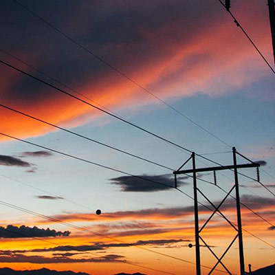 Silhouette of overhead power lines.