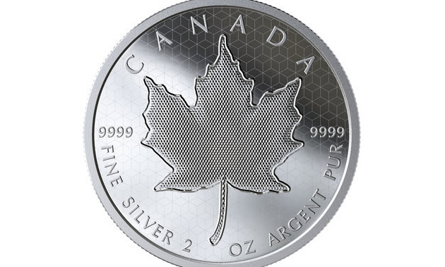 Royal Canadian Mint close-up of Pulsating Maple Leaf coin.