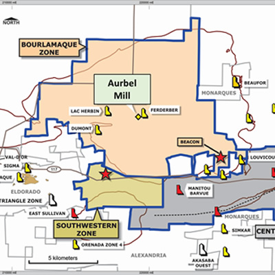 Location of the Aurbel Milling Facility on QMX's Val d'Or Mining Camp Property.