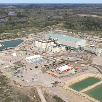 An aerial view of the facilities at New Gold's Rainy River Gold Project is shown.