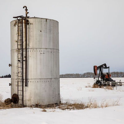 The abandoned Redwater oil well site in Alberta.