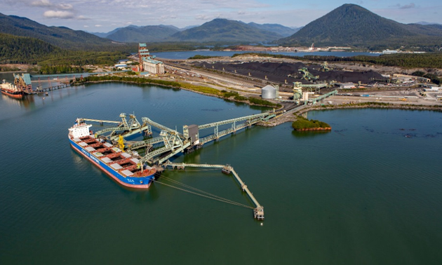 Aerial view of the Ridley Terminals in Prince Rupert.