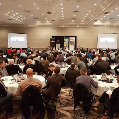 A photo of people at a conference from the Saskatchewan Oil and Gas Supply Chain Forum in October 2017.