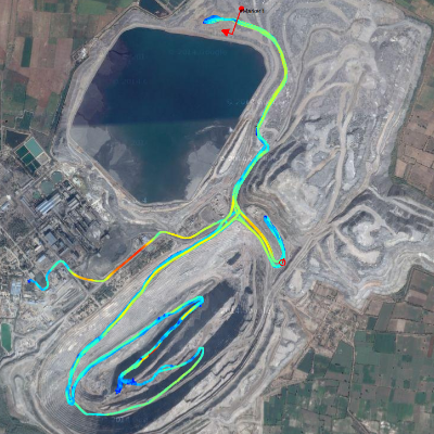 BKT is able to pinpoint exact points where a company can increase operational efficiency by analyzing data from imagery such as this haul road map.