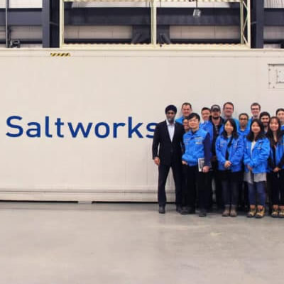 The Saltworks Team and the Honorable Harjit Sajjan in front of the AirBreather Plant