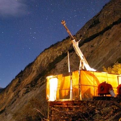 Seabridge Gold drill shack at night.
