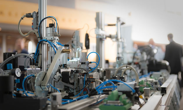 Participants enrolled in Simon Fraser University's new Siemens Mechatronic Systems Certification Program will receive extensive training on state-of-the-art industrial equipment (pictured here).