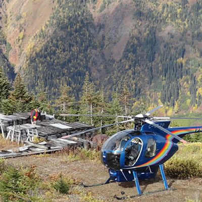 Picture of helicopter at a forested landing area.