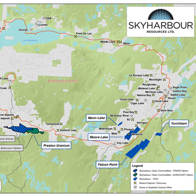 Skyharbour's Uranium Project Map in the Athabasca Basin.