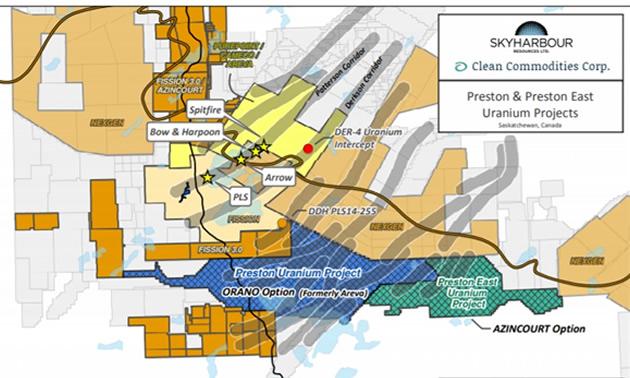 The Preston Uranium Project claims map.