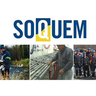 Collage of 3 mining pictures plus logo of Soquem company.