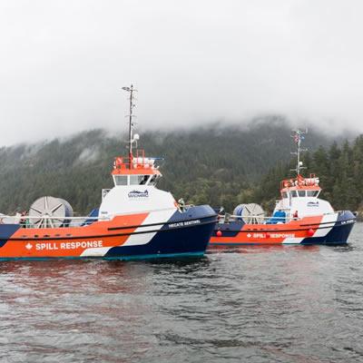 Spill response ships.