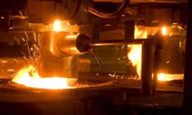 Close-up of steel smelting.