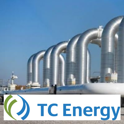 Row of pipelines, with logo of TC Energy Corporation.