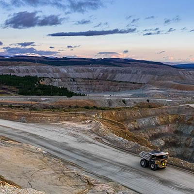 Picture of Teck truck in a mining area.
