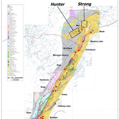 Map of Thompson Nickel Belt.