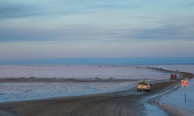 The new all-season gravel road is 138 kilometres, long connecting  Inuvik to the coastal town of Tuktoyaktuk, Northwest Territories.