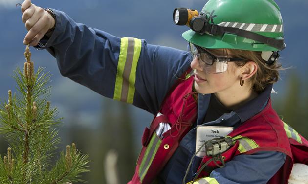 A female mining engineer.