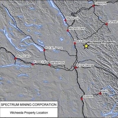 Map showing location of Wicheeda property in central British Columbia.