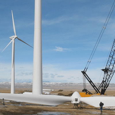 A wind turbine being erected.