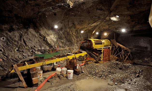 equipment in an underground mine
