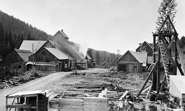 black and white photo of an old mining camp