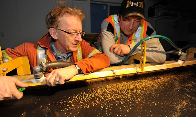 two men looking at small pieces of gold