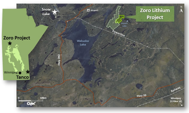 Map showing location of Zoro Lithium Project.