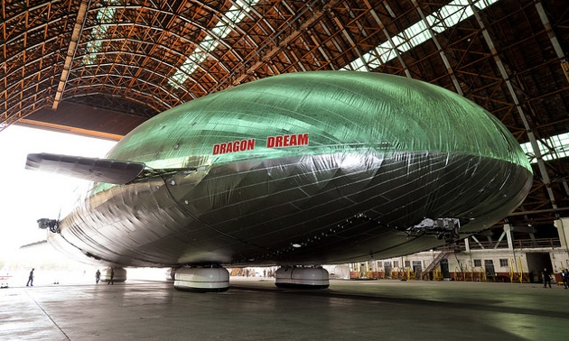 The Aeroscraft concludes flight testing and returns to the decommissioned WWII era hangar in which it is housed.