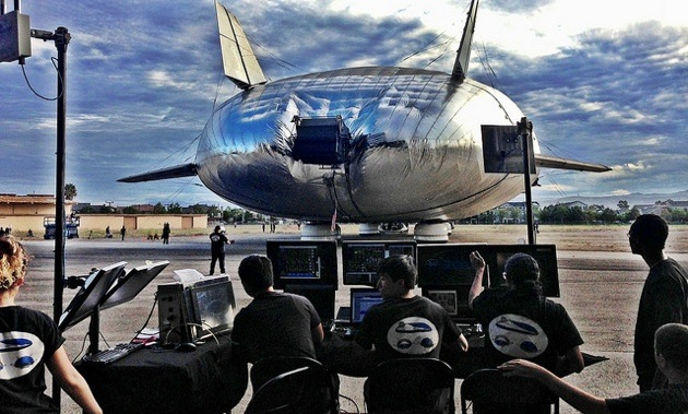 Engineers monitor systems data as the Aeroscraft taxis outside for the first time.