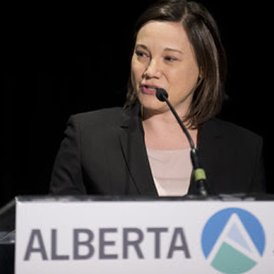 Alberta Environment Minister Shannon Phillips addressing the Canadian Wind Energy Association's (CanWEA) Alberta Summit.
