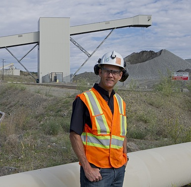 Andrew Cooper in front of the New Afton Mine located near Kamloops, B.C.