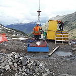 Drilling underway at the Kemess East site in August 2014.
