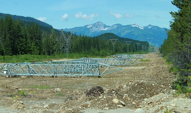 Guyed Y towers were flown in and erected on concrete footings along the NTL in northern B.C.