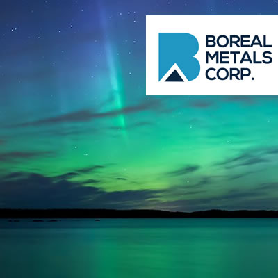 Picture of aurora borealis with logo of Boreal Metals Corp.