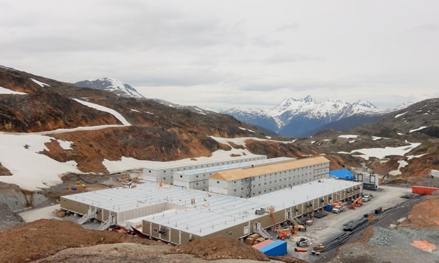 Brucejack's camp building is shown in construction, June 2016.