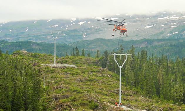 Brucejack's transmission line towers were installed, July 2016.