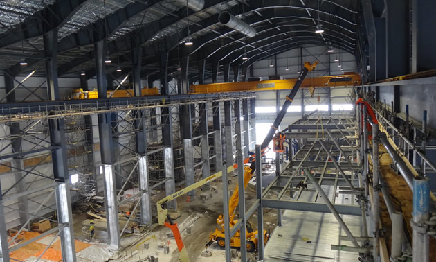 Internal steel structures of Brucejack's mill are shown, October 2016.