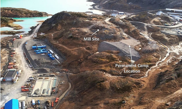 An aerial view of the mine site shows the location for the permanent camp and mill locations, October 2015.