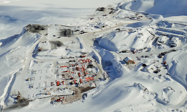 The landscape of the Brucejack Mine site is covered in snow, March 2016.