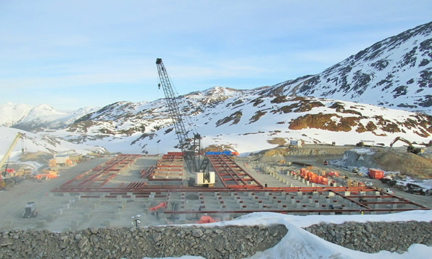 A crane is working at the Brucejack Mine site, April 2016,
