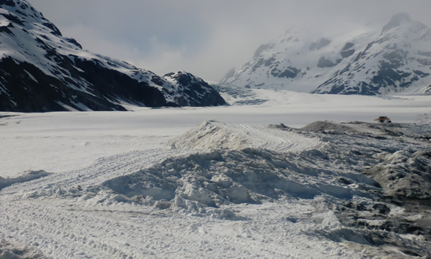 The Brucejack mine site posed unique challenges for Veolia Water Technologies, particularly, transporting equipment and supplies over 12 kilometres of glacier. The glacier is pictured here.