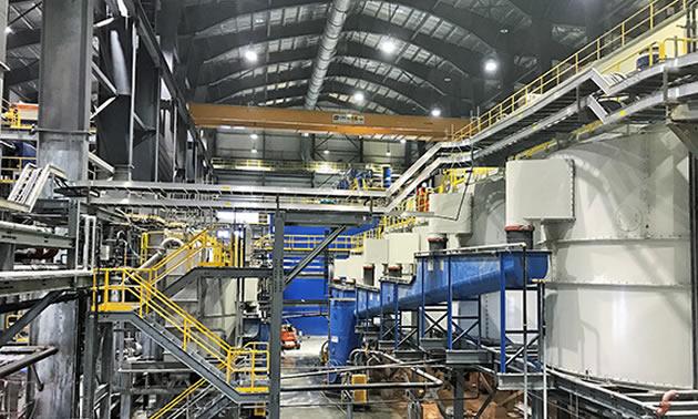 Interior of Brucejack Mine building.