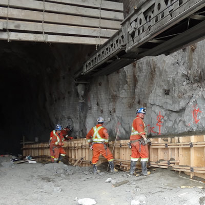Construction workers at the underground Brucejack gold mine, dressed in hi-vis suits.